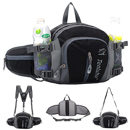 SINOKAL Multifunctional Military Style Canvas Waist Pack Bag Water Resistance Fanny Packs with Water Bottle Holder for Running Hiking Cycling Climbing Camping Traveling (Black)