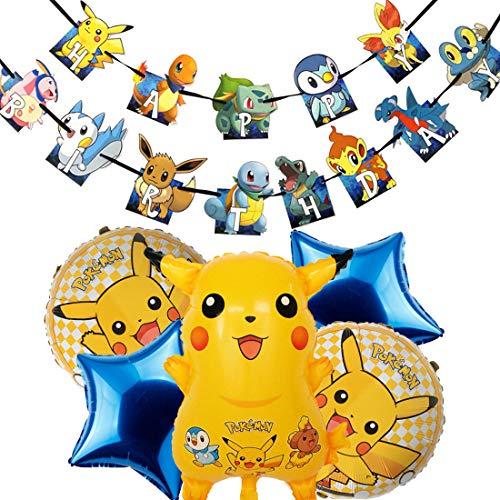 ZSWQ Pokemon Ballons, Pokemon Ballons Aluminium Pikachu Ballons Hélium Ballons pour Enfant Anniversaire Fête Décoration