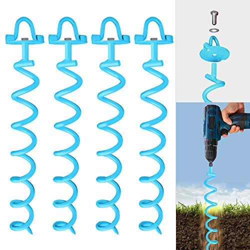 Drillable Spiral Ground Anchor, 16 Inches, 4-Pack Set, Folding Ring for Securing Tents, Canopies, Tarps, Trampoline, Swing Sets, Solid Steel Earth Auger