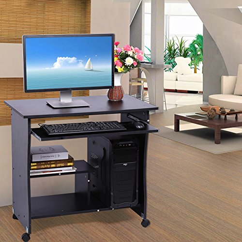 EBTOOLS Computertisch, schwarz Schreibtisch Laptoptisch Arbeitstisch Büromöbel Holz Computerwagen mit Tastaturauszug für Heim und Büro, erleichterte Montage, 80 x 48 x 74 cm