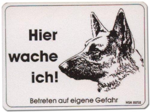 WB wohn trends PST-Schild - Hier wache ich - Schäferhund bissiger Hund Warn-Schild Warnzeichen Türschild Tür Kunststoff