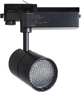 Diolumia Spot LED Triphasé COB sur Rail 20W 1680LM Blanc Neutre 4000K Angle de diffusion 38° LED COB CREE Transformateur L...