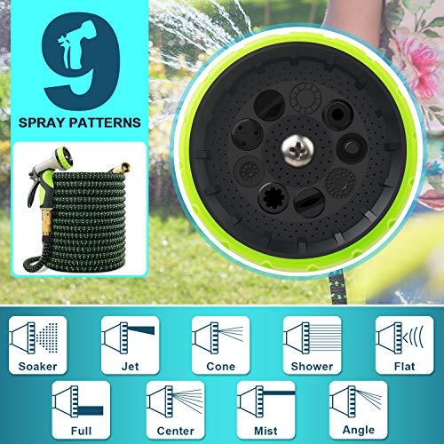 VIENECI 100ft Garden Hose Expandable Hose, Durable Flexible Water Hose, 9 Function Spray Hose Nozzle, 3/4' Solid Brass Connectors, Extra Strength Fabric, Lightweight Expanding Hose