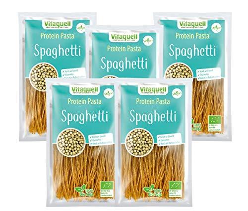 Vitaquell Protein Pasta Spaghetti Bio, 5 x 200 g Low Carb Protein Sportler-Nudeln I eiweißreich + glutenfrei + ballaststoffreich