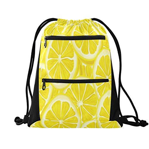 Rucksack mit Kordelzug, Sport-Rucksack – Sommer-Obst-Zitronen-Beutel mit Kordelzug, Tasche mit Reißverschluss, Sport-Rucksack für Wandern, Yoga