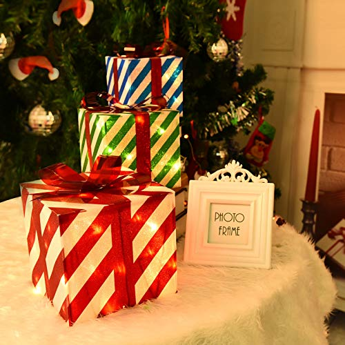 Rocinha Set of 3 Lighted Gift Boxes Christmas Box Decorations Red Green and Blue Lit Present Boxes The Best Christmas Yard&Home Décor 80 Lights