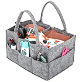 Umi. by Amazon - Baby Windel Caddy, Umi. tragbar Wickeltasche Organizer Multifunktionale Wickeltasche Aufbewahrungsbox Caddy mit Wechselbaren Fächer für Kinderzimmer, Auto und Reisen-Grau