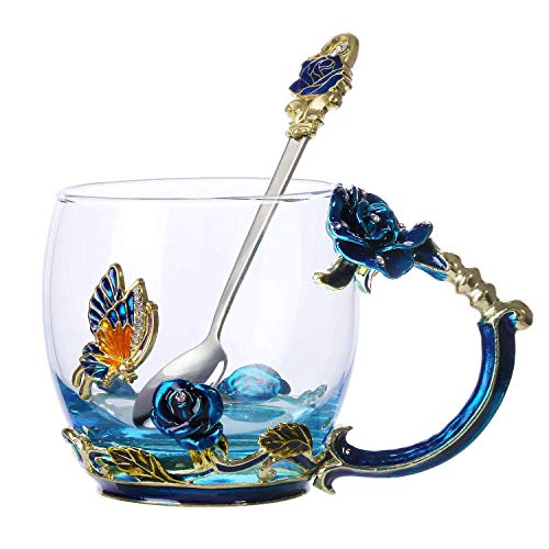 Enamel Butterfly Flower Tea Cup - Glass Coffee Mugs - Gifts for Women - Wedding Anniversary Birthday Christmas Present for Mum Wife Grandma Friends Girlfriend (Red)