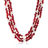 Ross-Simons 7-8mm Cultured Pearl and 4-9mm Red Coral Necklace With Sterling Silver. 17.5 inches