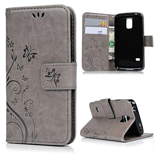 MAXFE.CO Lederhülle Leder Tasche Case Cover für Samsung Galaxy S5 Mini Hülle PU Schutz Etui Schale Gray Muster Design Backcover Wallet mit Standfunktion und Magnetverschluß Etui Flip Case