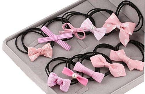 10pcs belle bowknot filles porte-queue de cheval élastiques cravates, rose