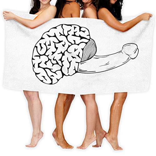 SundriesShop Menschliches Gehirn mit Penis Personalisierte benutzerdefinierte Strandtücher für Männer und Frauen, Familienbad Vergnügungspark Mikrofaser Schnelltrocknende Handtücher (32 x 52 Zoll)