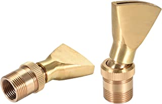 uxcell Fountain Nozzle Brass G1/2 X G3/4 Adjustable Jet Water Pool Spray Flat Head