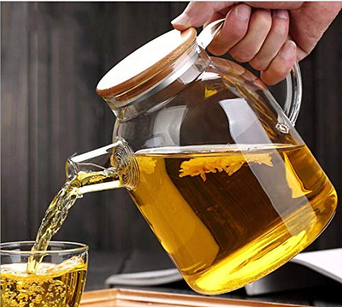 Glass Water Pitcher,Ice Cold Juice Carafe Glass Jug Tea Kettle,with Crystal Handle and Lid Cover for Milk,Red wine,Cold water,Fruit juice (1800ML, Bamboo Lid Cover)