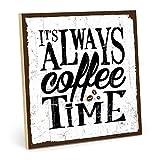TypeStoff Cartel de madera con texto en inglés «Coffee Time», estilo vintage, para regalo, decoración de café y pausa, 19,5 x 28,2 cm