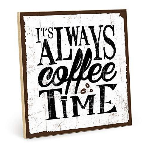 TypeStoff Targa in legno con scritta 'Coffee Time' – in stile vintage con citazione come regalo e decorazione per caffè e pausa (19,5 x 28,2 cm)