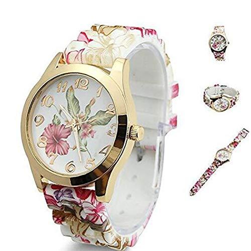 Reloj de pulsera de cuarzo para mujer, diseño de flores, color rojo vino.