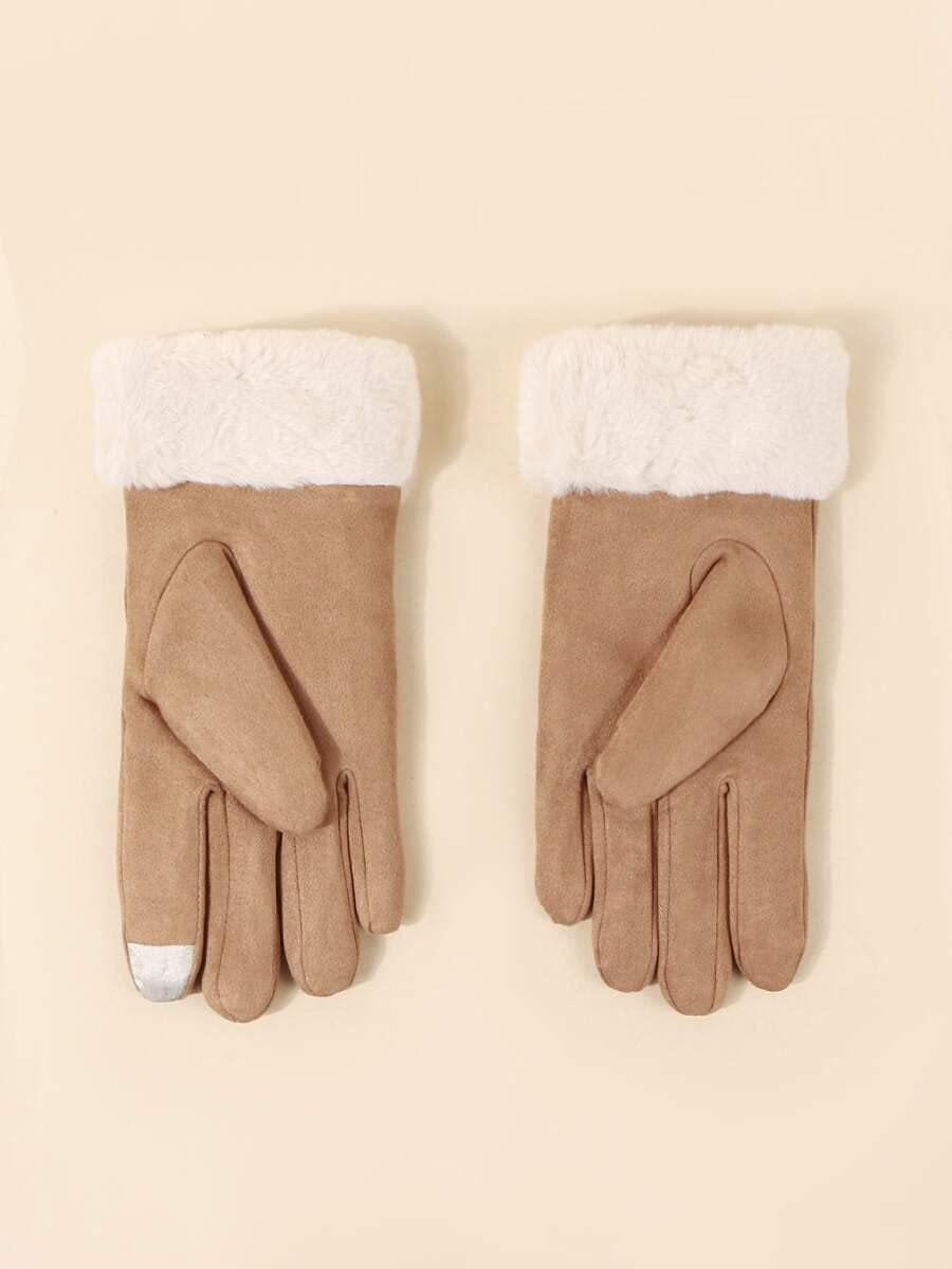 ZZTT Autumn and Winter Gloves Plush Gloves Warm and Comfortable Gloves for Men or Momen (Color : Khaki, Size : One-Size)