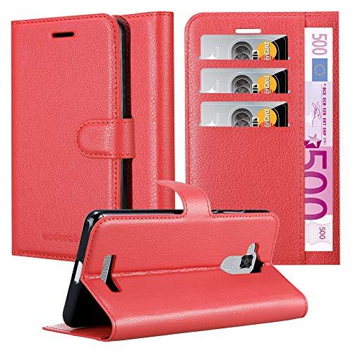 Cadorabo Hülle für Asus ZenFone 3 MAX (5,2 Zoll) in Karmin ROT - Handyhülle mit Magnetverschluss, Standfunktion & Kartenfach - Hülle Cover Schutzhülle Etui Tasche Book Klapp Style
