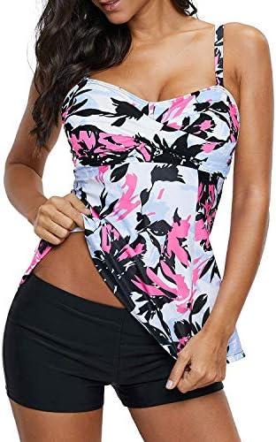 Zando Tankini Swimsuits for Women Floral Tankini Top with Boyshort Bathing Suits Tummy Control product image