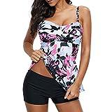 Zando Women Tummy Control Swimsuit with Boyshort Bathsuit Two Piece Slimming Bathing Suits Push Up Printed Tankini Swimwear White Pink Flower L (fits like US 8-10)