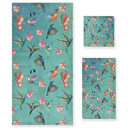 VINISATH Home Juego de Toallas Baño,Pájaros Flores y Jaula,Set 3 Piezas,3 tamaños...
