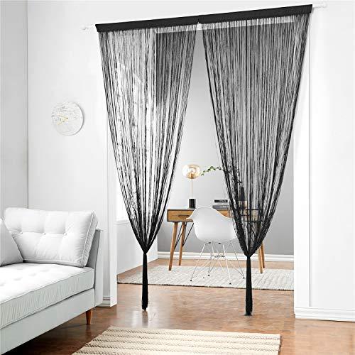 Taiyuhomes Classic Spaghetti String Vorhang Fliegengitter Vorhänge für Türen, Türen, Fensterbehandlungen und Wohnkultur(Schwarz,90x200)