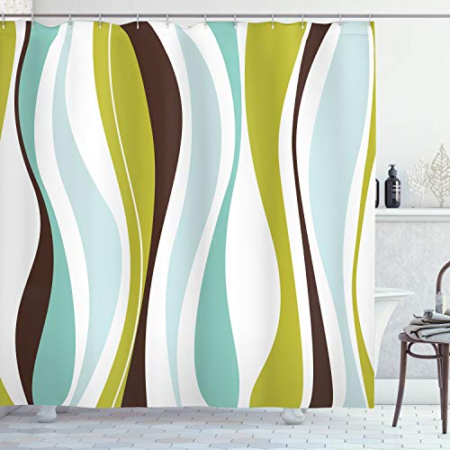 """Ambesonne Vintage Shower Curtain, Abstract Horizontal Vibrant Shape, Cloth Fabric Bathroom Decor Set with Hooks, 84"""" Long Extra, White Turquoise"""