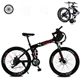 KT Mall Folding Electric Bikes for Adults 26 In with 36V Removable Large