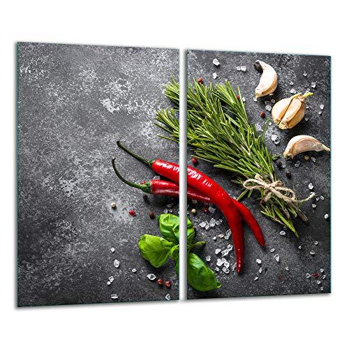 TMK | Herdabdeckplatten 2 Teilig 2x30x52 cm Ceranfeldabdeckung Küche Elektroherd Induktion Herdschutz Spritzschutz Glasplatte Schneidebrett Gewürze