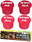 Funny Silicone Wine Bottle Stoppers - SURDOCA 4 Sets Reusable Cute Decorative Wine Cork, Airtight Seal Rubber Wine Caps, Wine Topper Saver for Keep Fresh. Bottle Stopper for Champagne Beer Beverage.