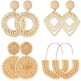 4 Pairs Rattan Earrings Lightweight Geometric Statement Tassel Woven Bohemian Earrings Handmade Straw Wicker Braid Hoop Drop Dangle Earrings For Women Girls (Style B)