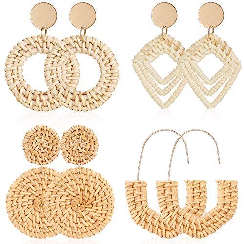 4 Pairs Rattan Earrings Lightweight Geometric Statement Tassel Woven Bohemian Earrings Handmade...