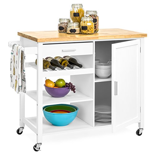 Best Choice Products Portable Kitchen Island Cocktail Cart for Serving, Storage, Décor w/Wood Top, Wine Shelf, Cabinet, Drawer, Towel Rack, White