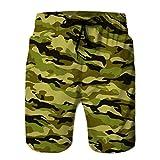 Holefg3b Bañador Casual para Hombre Pantalones Cortos de Playa Estampados de Secado rápido Camuflaje Tradicional Hipster