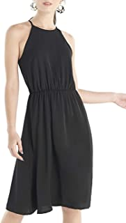 Our Heritage – Women's Sleeveless A-line Midi Dress with Halter Neckline