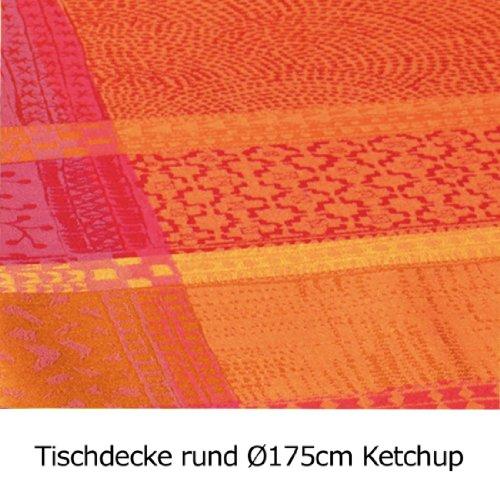 Garnier Thiebaut Beschichtete Tischdecke Mille Wachs Ketchup 69 cm rund, 100% zwirnige Baumwolle, beschichtet mit DREI Lagen Acryl