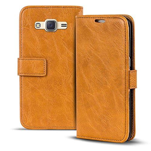 Conie RW30422 Retro Wallet Kompatibel mit Samsung Galaxy J1 2016, Klapphülle Tasche Vintage Leder Design für Galaxy J1 2016 Etui mit Kartenfächer Gelbbraun
