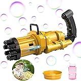 SPECOOL Maquina Burbujas Niños, 2021 Gatling Bubble Machine con Ligero,Máquina de Burbujas Automática, Maquina Pompas Jabon de para Niños Juguete de Baño Fiestas Bodas (Black Gold with Light)