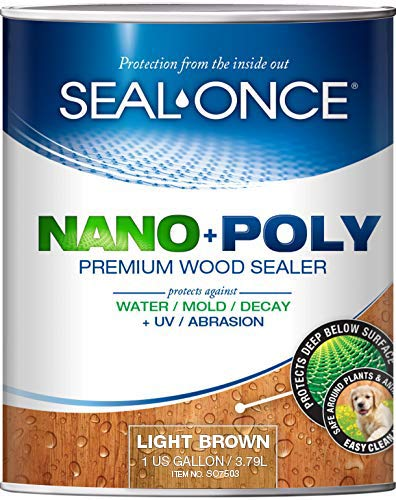 SEAL-ONCE Nano+Poly Ready Mix Penetrating Wood Sealer & Stain with Polyurethane (Light Brown) - Water-Based, Low-VOC, Waterproofing for Decks, Fences, siding & Log Homes. … (1 Gallon)…