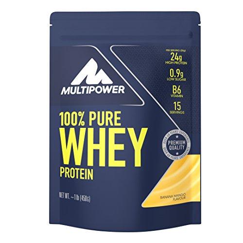 Multipower 100% Pure Whey Protein - Fino a 80% di Proteine del Siero del Latte - Proteine Isolate come Fonte Principale - 15 Porzioni - Per lo sviluppo Muscolare - 450 g - Gusto Banana-Mango