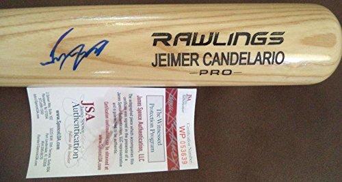 Jeimer Candelario Det Tigers Signed Blonde Engraved Rawlings Bat Jsa - Autographed MLB Bats