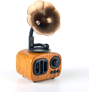 GLJJQMY Wireless Bluetooth Speaker Sunflower Retro Mini Stereo Indoor Home Portable Mahogany (Color : Rosewood Color)