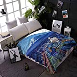shirlyhome Throw Blanket Wanderlust Air Conditioner Blanket Mt Fuji and Yokohama As Bed Cover/Bedspread/Coverlet 60x80 Inch