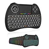 Mini Wireless Keyboard,H9 Mini Keyboard with Touchpad,Colorful Backlit Wireless Mini Keyboard,Mini Rechargeable Handheld Remote Keyboard for PC,Raspberry Pi 4, Android TV Box,KODI,Windows 7 8 10