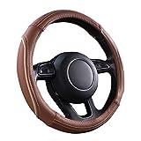 CAR PASS Line Rider Universal Fit Delux Leather Steering Wheel Cover, for suvs,sedans,Vans,Trucks(Caynne)