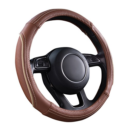 CAR PASS Line Rider Universal Fit Delux Leather Steering Wheel Cover, for...