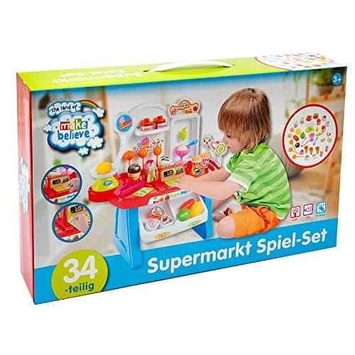 Jawoll Supermarkt Spiel-Set 34-teilig Verkaufstheke Kaufladen Geschäft Spielzeug Kinder
