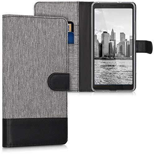 kwmobile Alcatel 3C Hülle - Kunstleder Wallet Case für Alcatel 3C mit Kartenfächern & Stand - Grau Schwarz