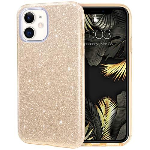 MILPROX iPhone 11 Hülle Glitzer Schutzhülle Bling DREI-Schicht-Hybridstruktur Slim Kristallklar schützende Hülle kompatibel mit iPhone 11 6.1 Zoll (Gold